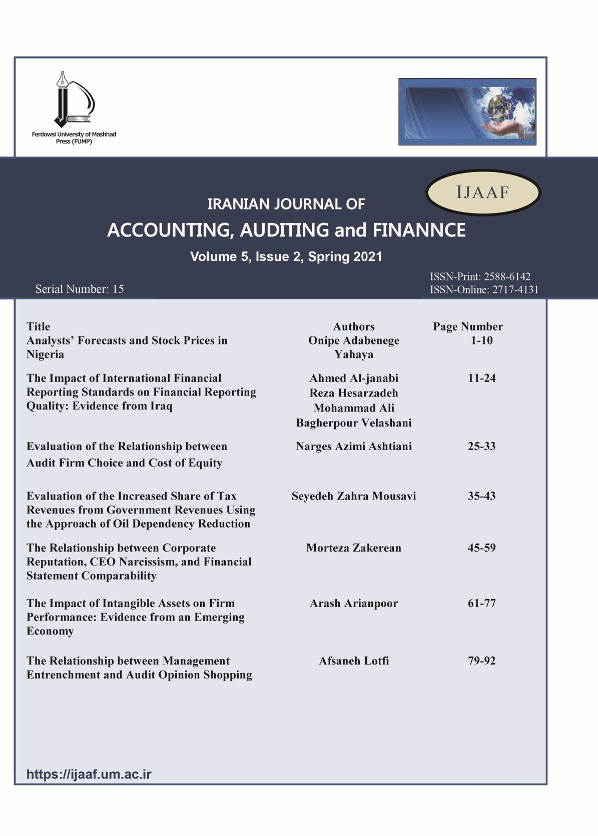 Iranian Journal of Accounting, Auditing and Finance